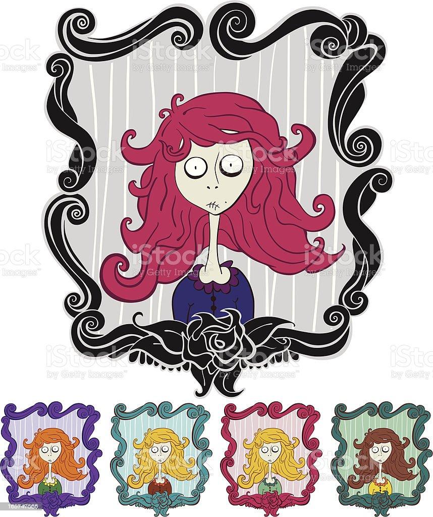 Zombie Halloween Girl in mirror royalty-free stock vector art