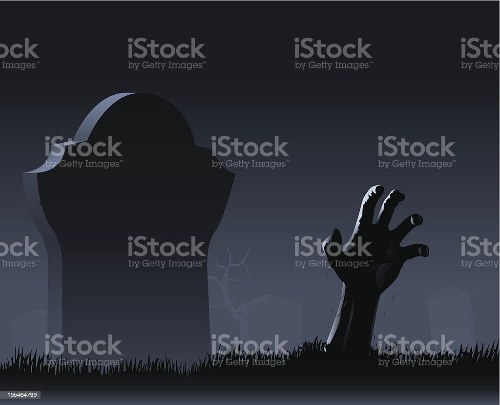 Zombie hand & gravestone vector art illustration