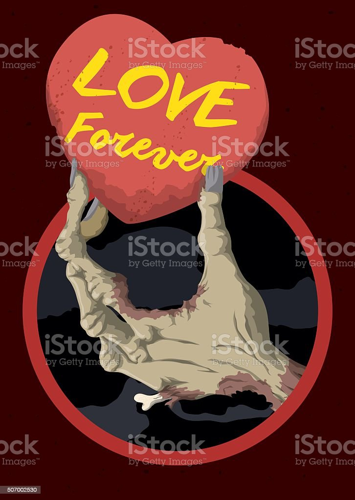 Zombie Hand Holding a Heart Card with Love Message vector art illustration