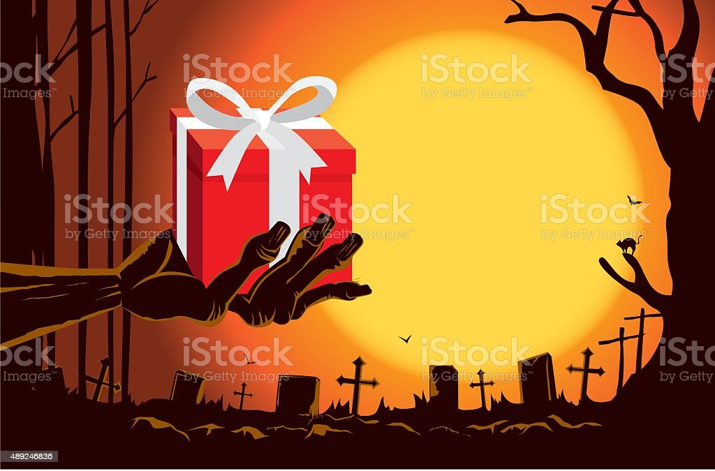 Zombie hand holding gift box at the grave vector art illustration