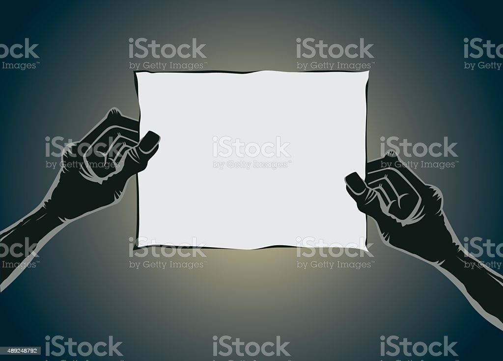 Zombie hand holding old paper no text vector art illustration
