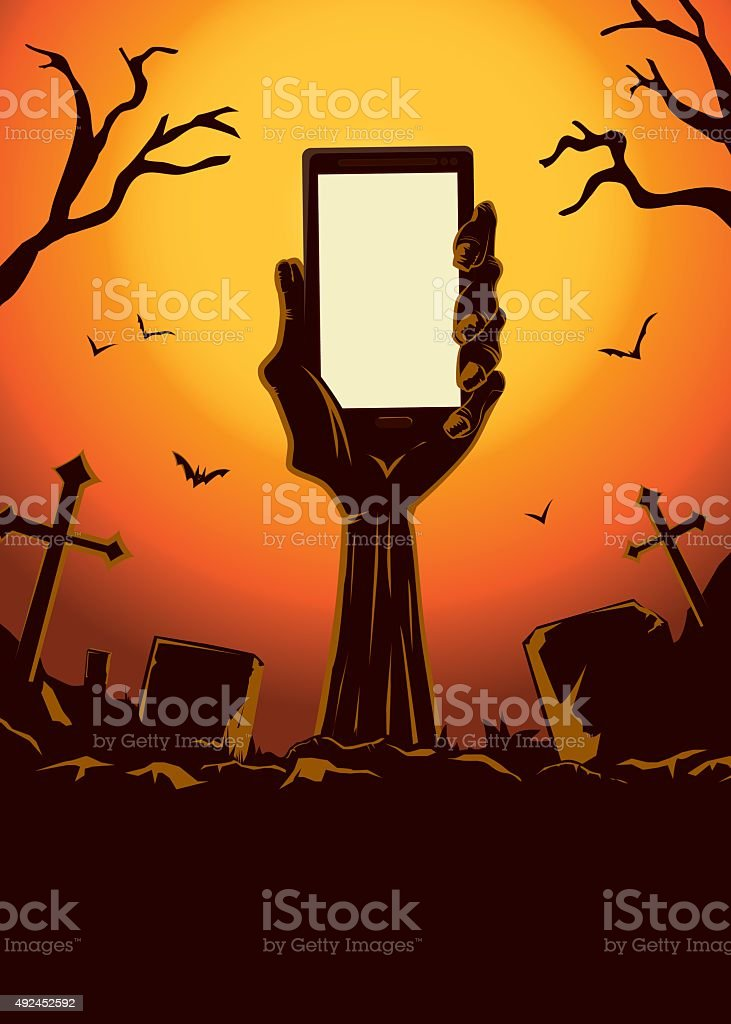 Zombie hand holding smartphone up from the grave vector art illustration
