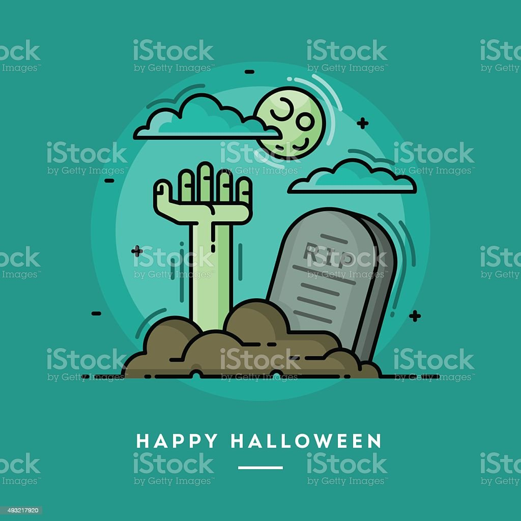 Zombie hand in cemetery, flat design thin line Halloween banner vector art illustration