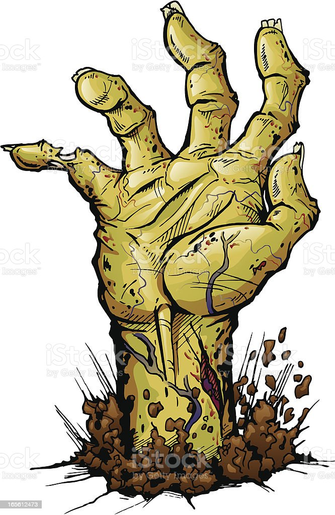 Zombie Hand Isolated vector art illustration