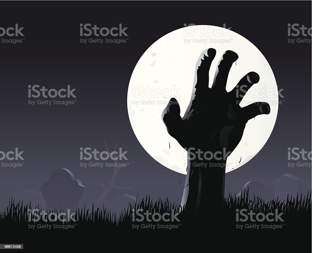 Zombie hand & moon vector art illustration
