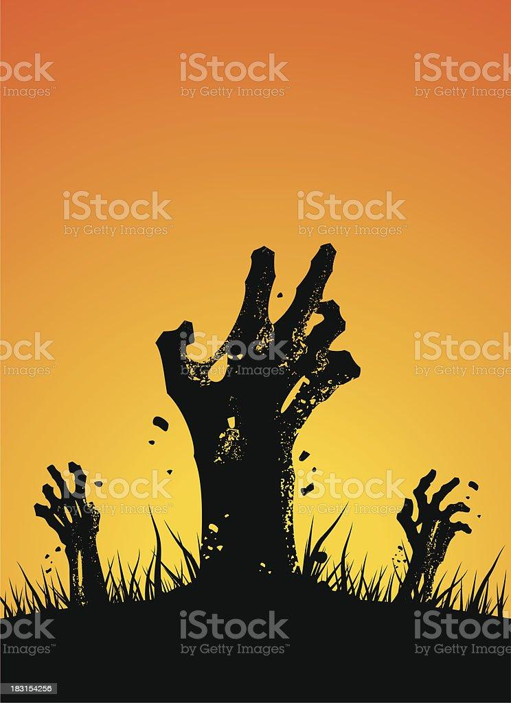 zombie hands rising vector art illustration