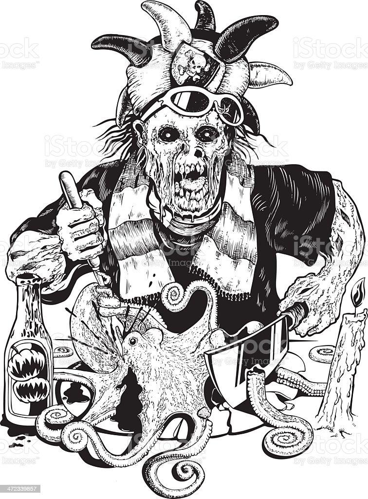 Zombie Having Dinner vector art illustration