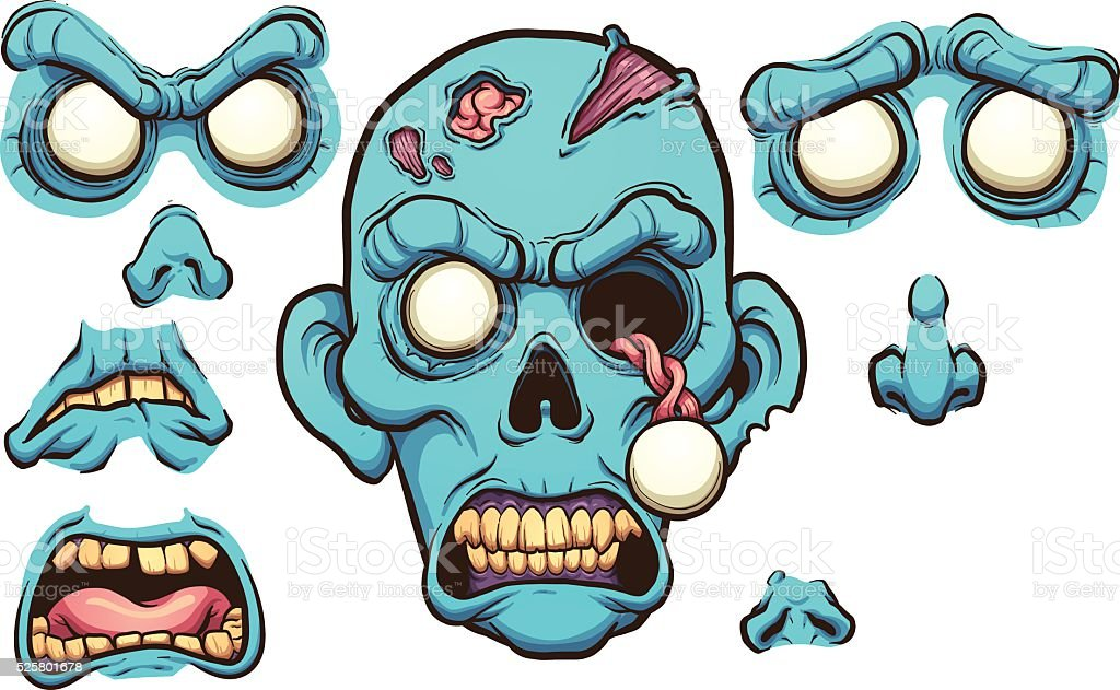 Zombie head vector art illustration