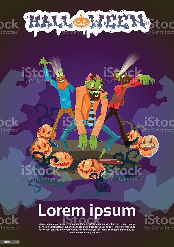 Zombie Hipster Group Happy Halloween Party Invitation Card stock ...