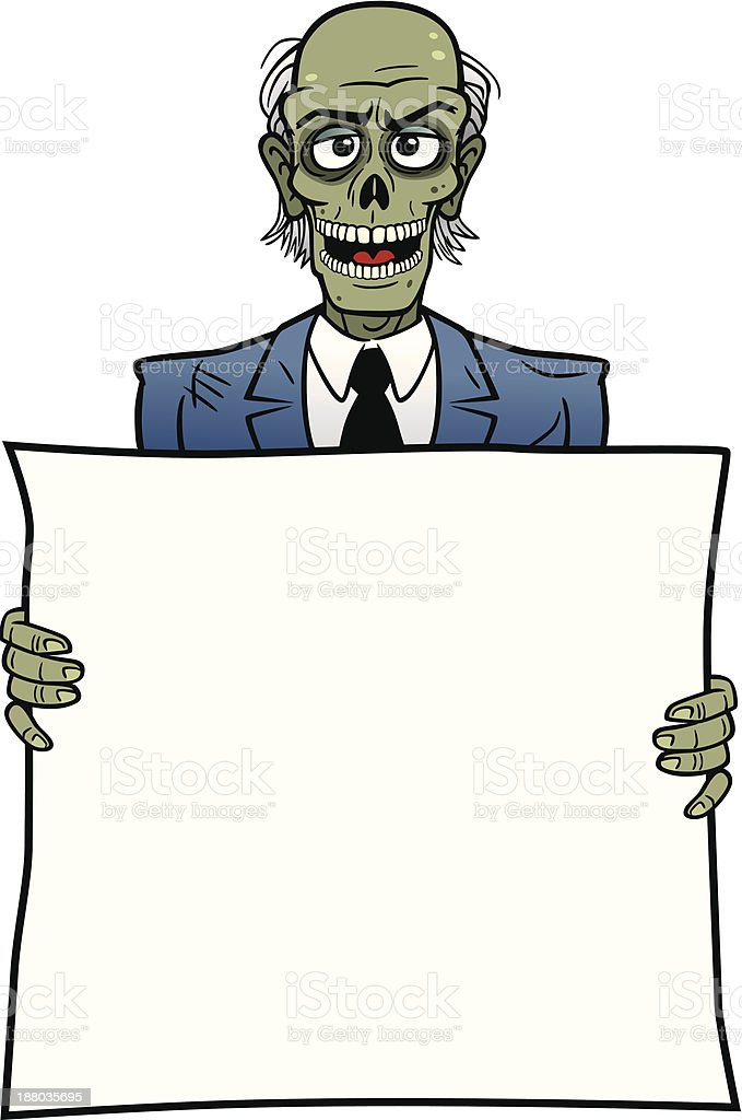 Zombie Holding A Sign royalty-free stock vector art