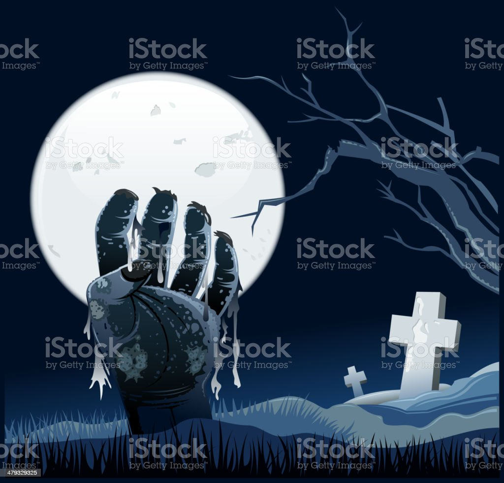 zombie in cemetery royalty-free stock vector art