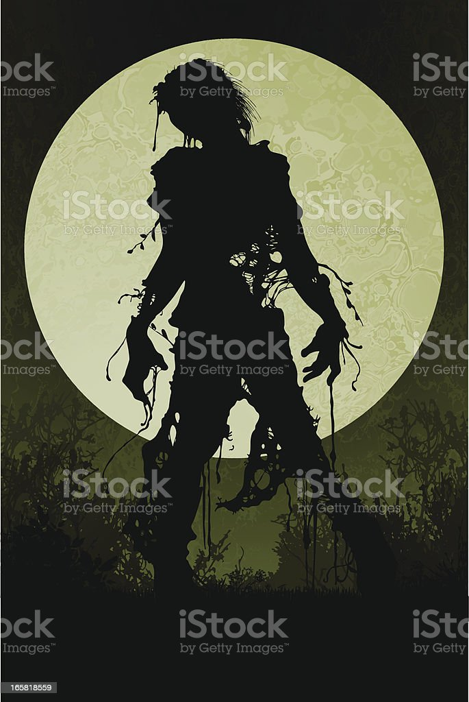 Zombie in the Twilight vector art illustration