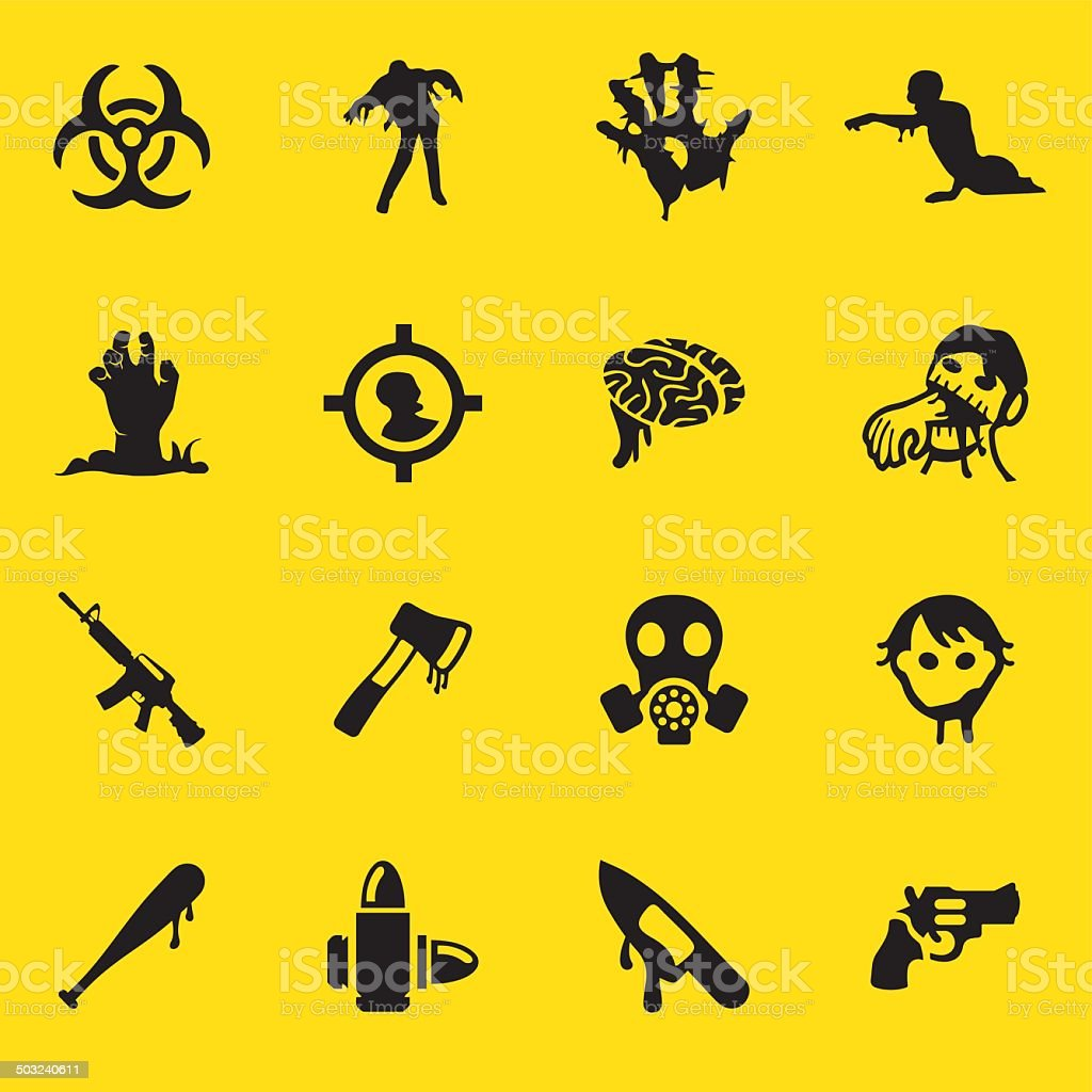 Zombie Land Yellow Silhouette icons| EPS10 royalty-free stock vector art