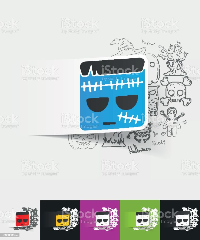 zombie paper sticker with hand drawn elements vector art illustration