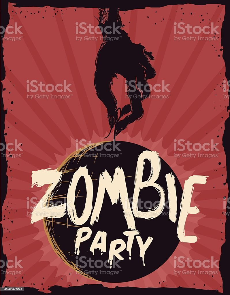 Zombie Party Invitation Poster. vector art illustration