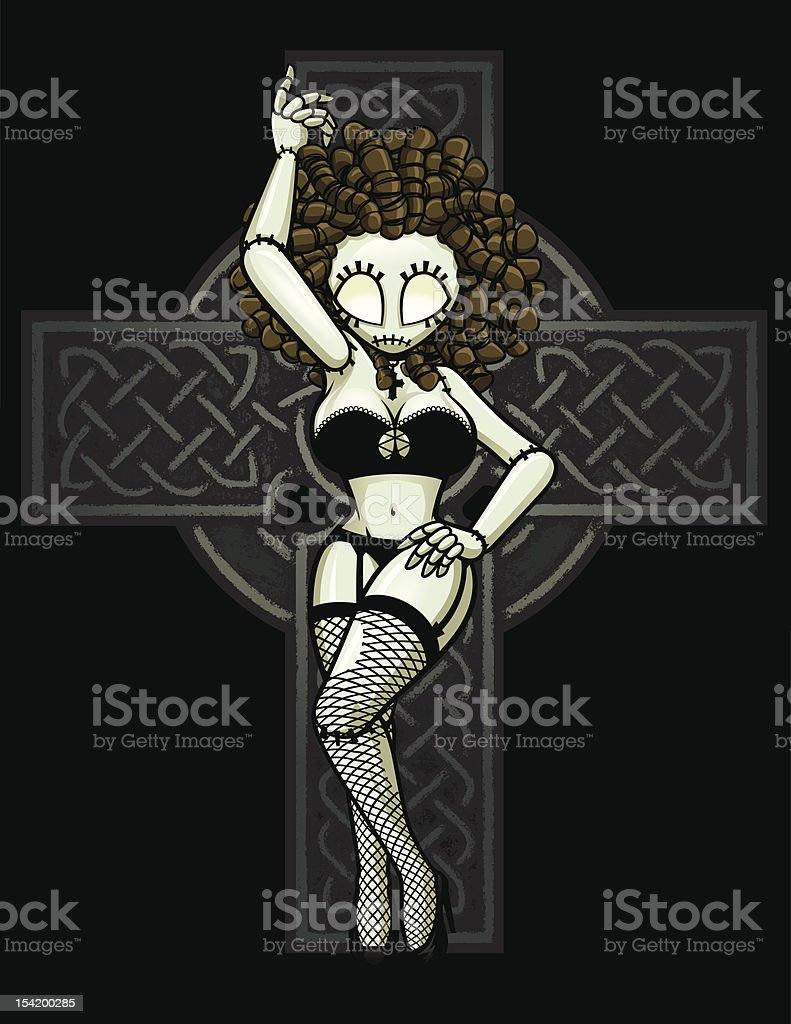 Zombie Pin-Up Girl: Celtic Cross Pose royalty-free stock vector art