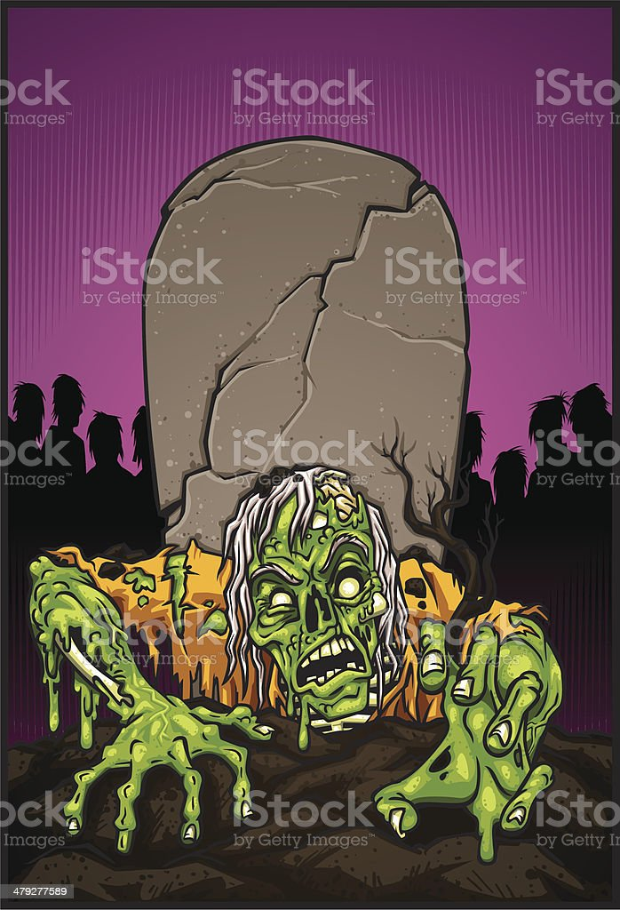 zombie rising vector art illustration