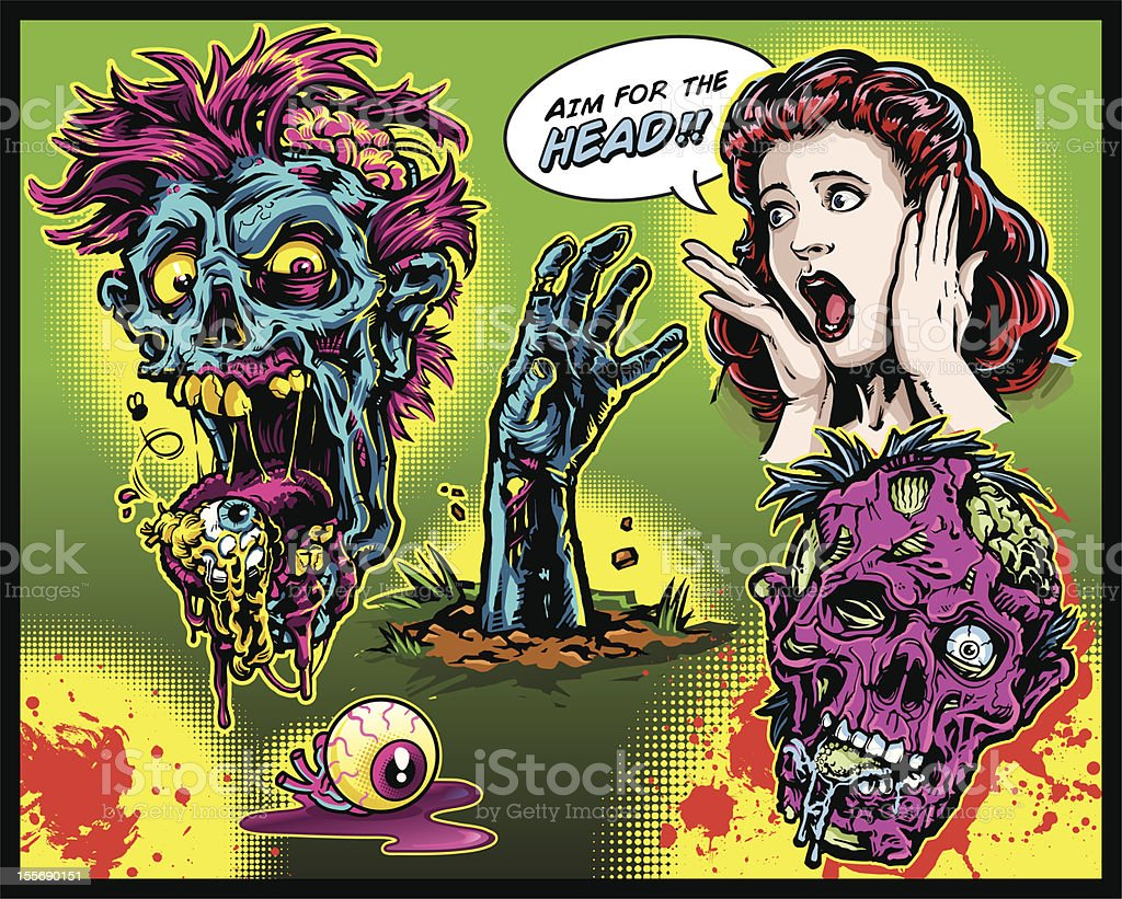 Zombie Set vector art illustration