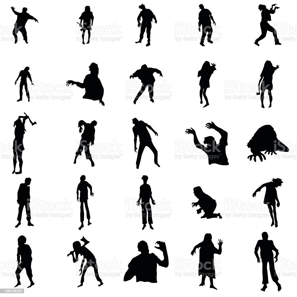 Zombie silhouettes set vector art illustration