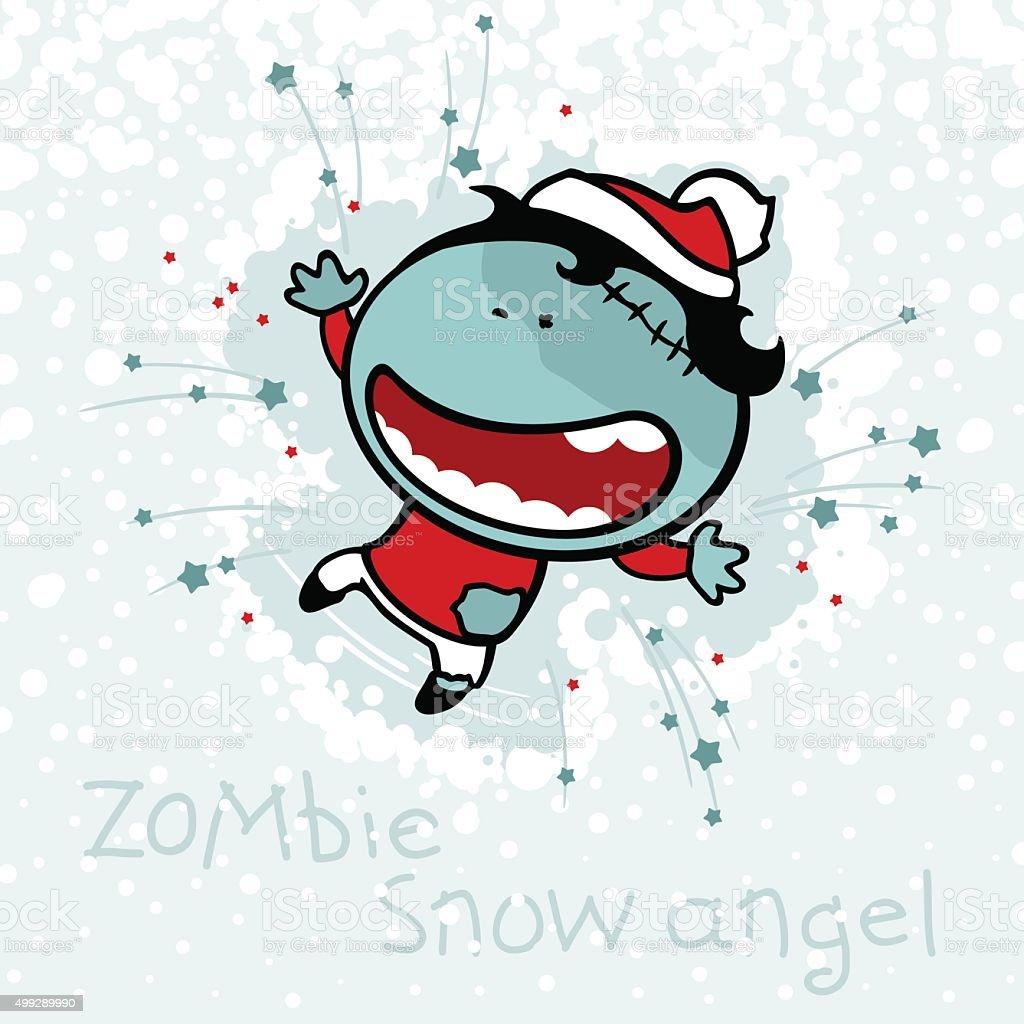 Zombie snow angel vector art illustration