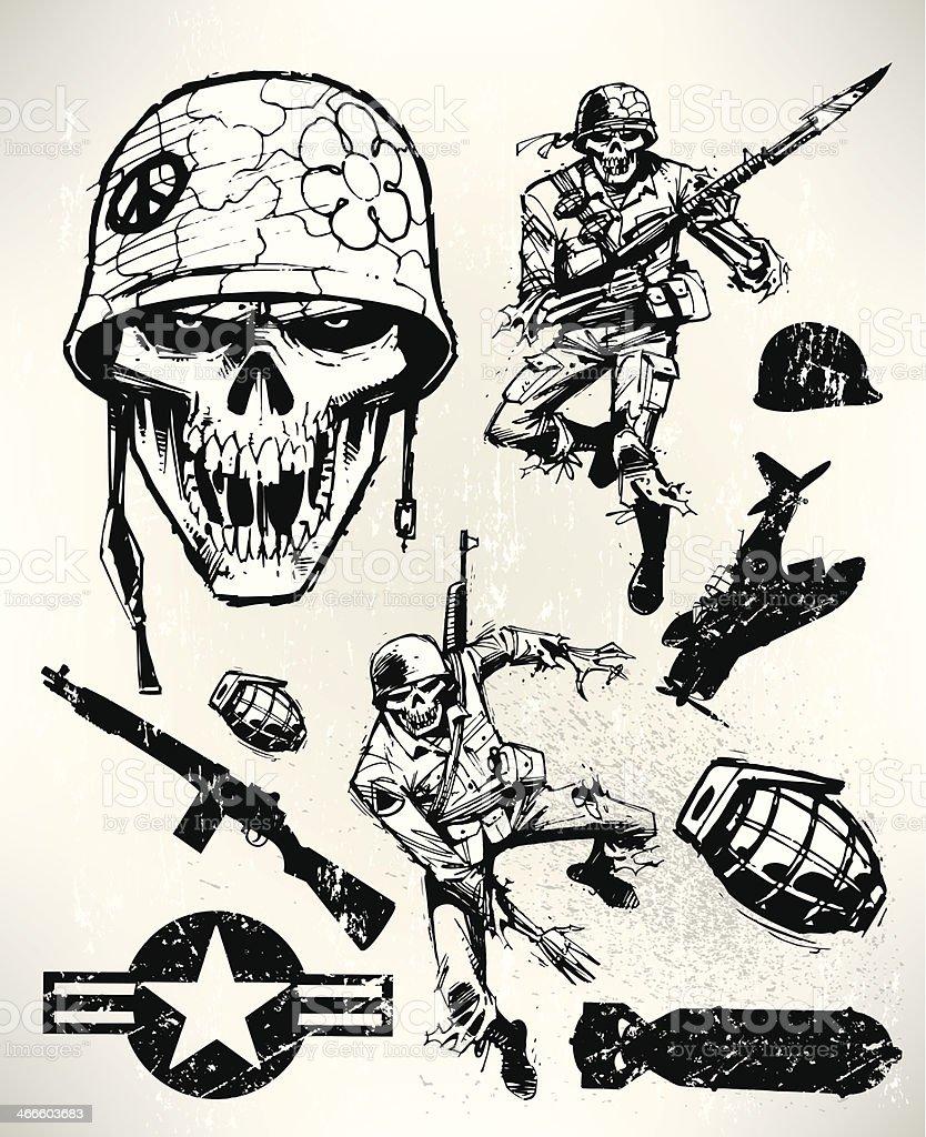 Zombie Soldiers - Army Men Fighting, War vector art illustration