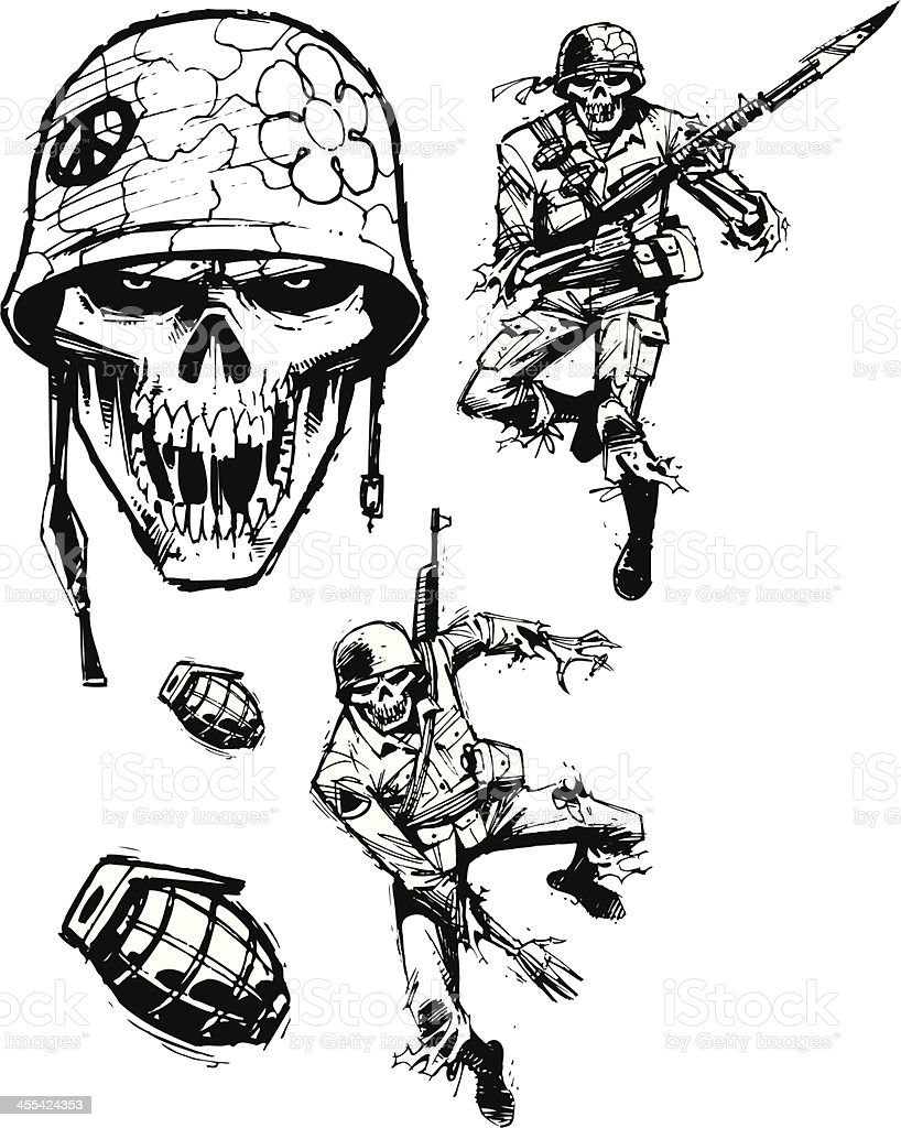 Zombie Soldiers - Army Men royalty-free stock vector art