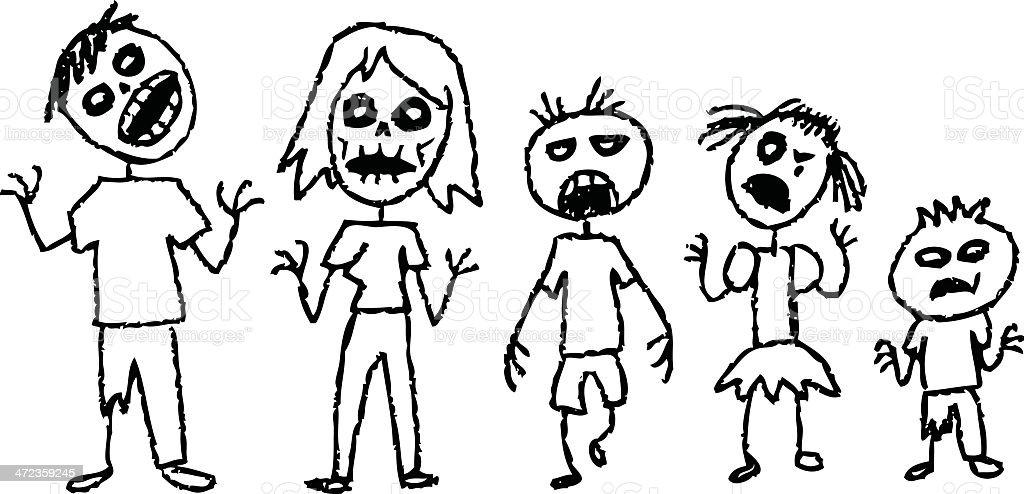 zombie stick figures vector art illustration