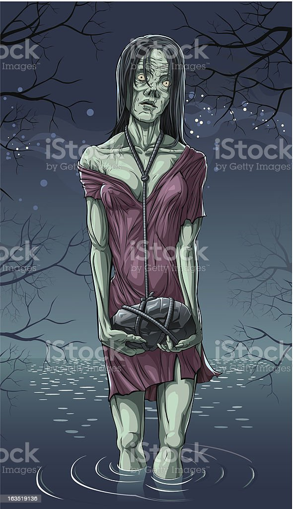 Zombie woman drowned vector art illustration