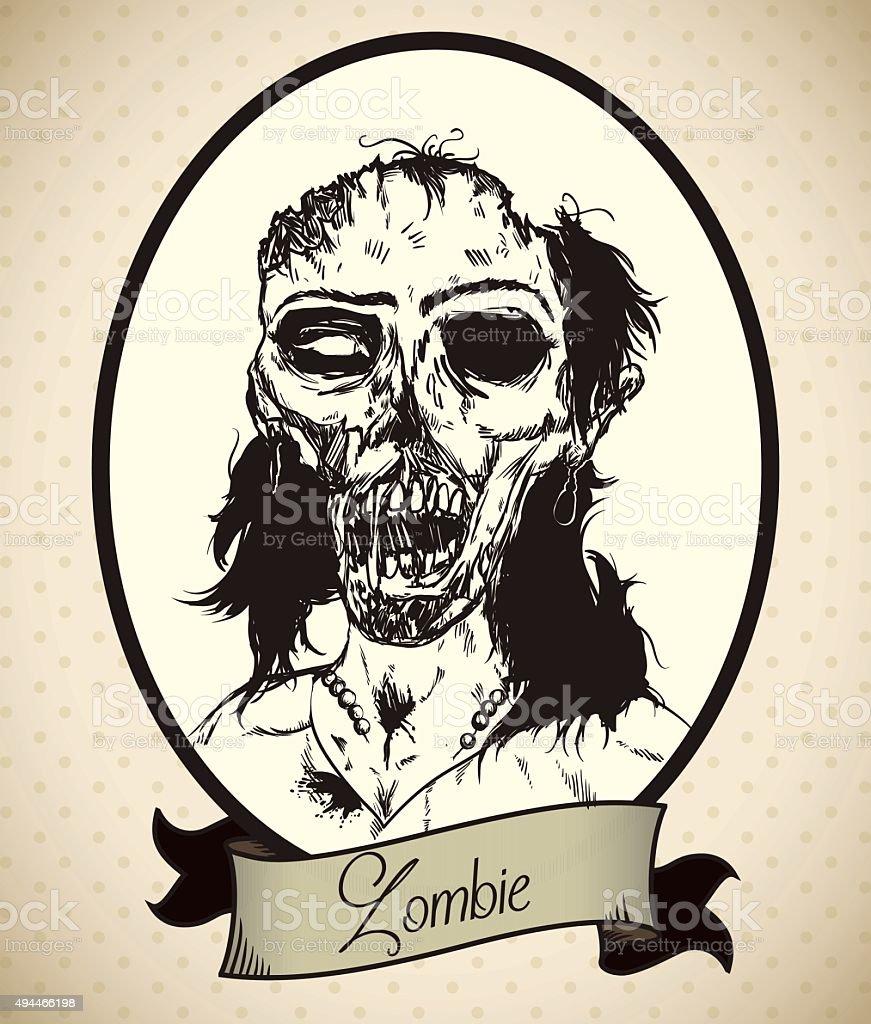 Zombie Woman Retro Portrait. vector art illustration