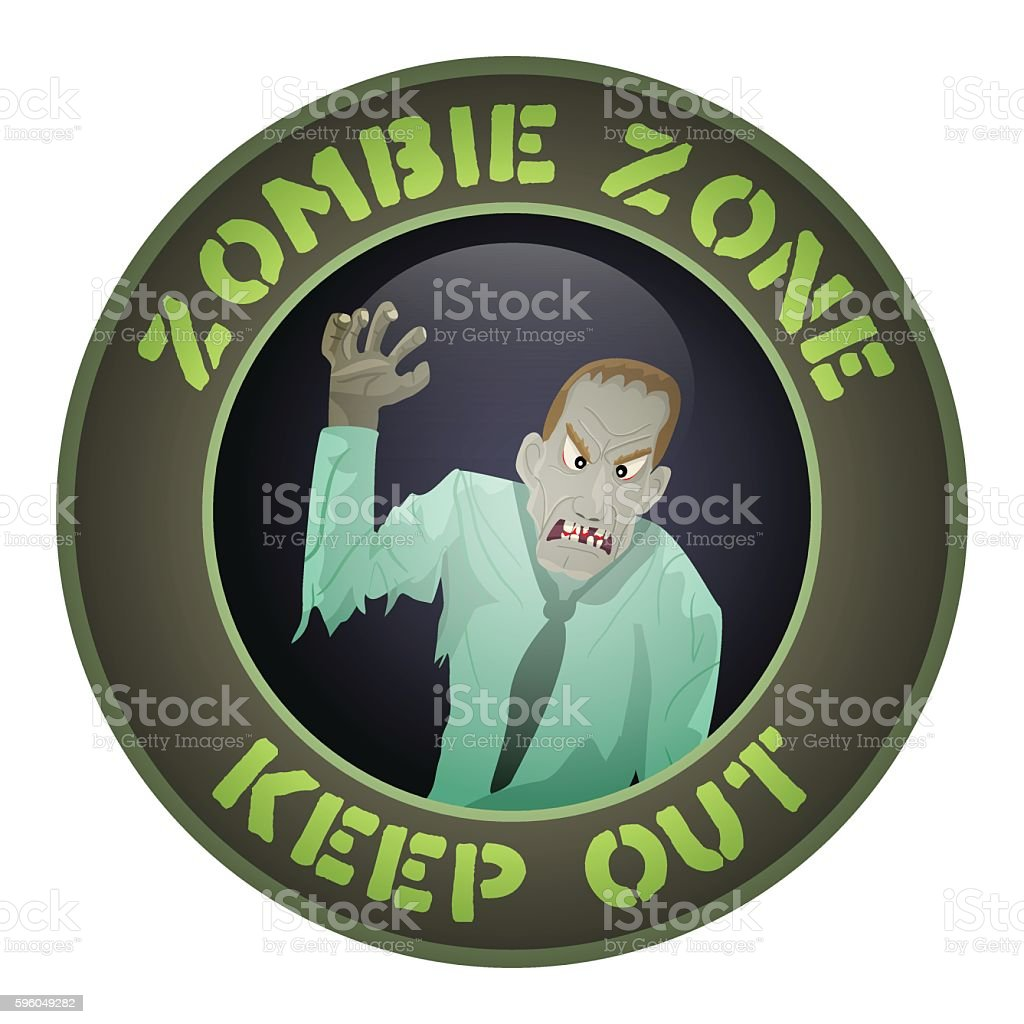 Zombie zone.Warning sign. vector art illustration