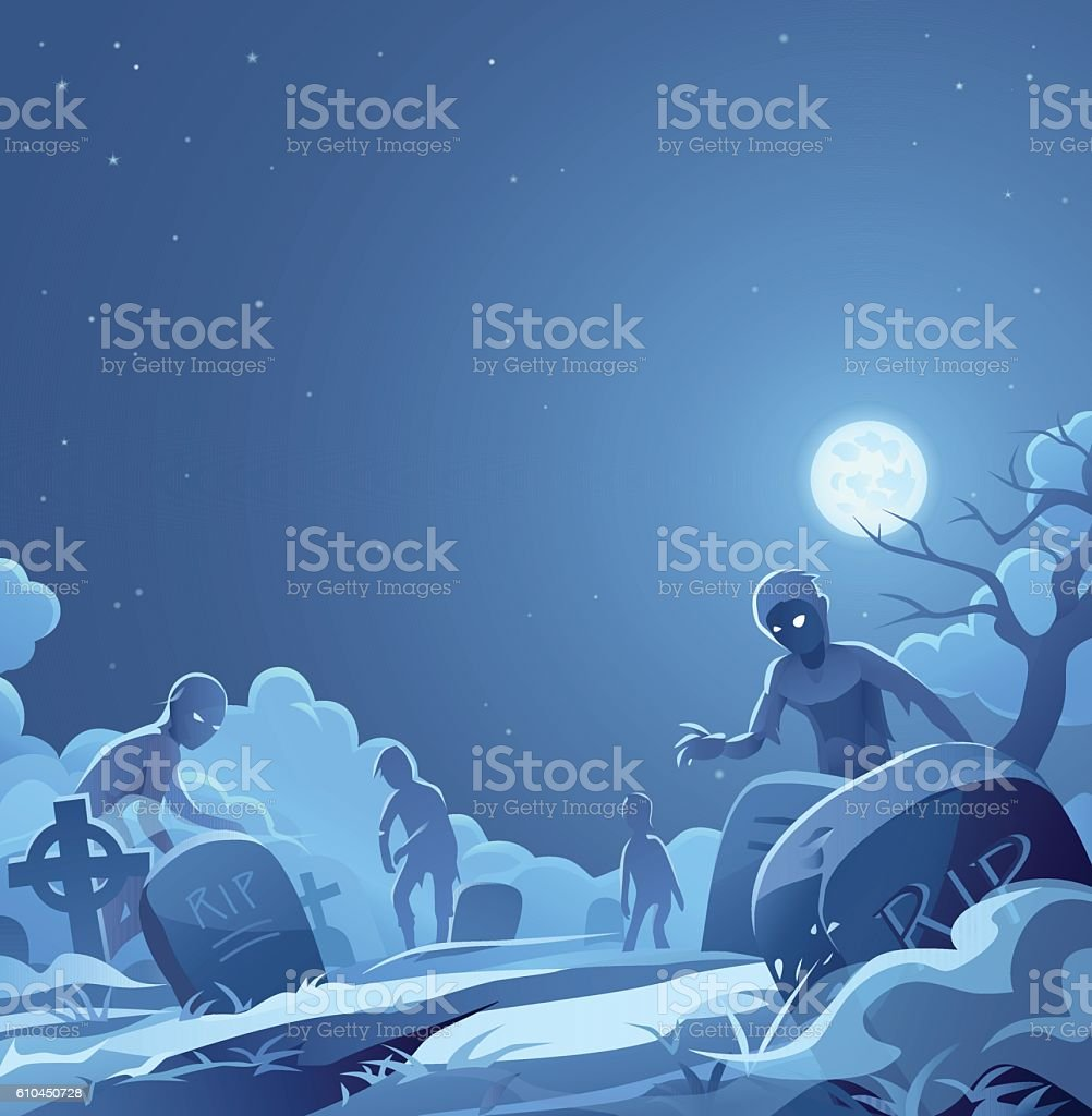 Zombies In A Cemetery vector art illustration