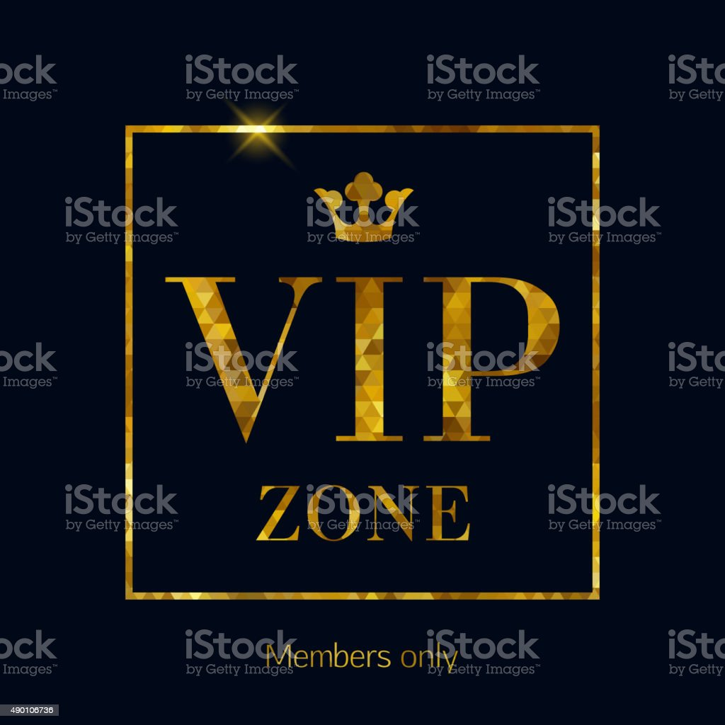VIP zone abstract mosaic faceted letters illustration vector art illustration
