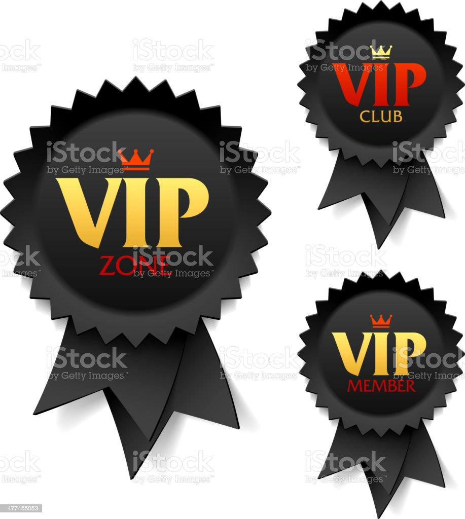 VIP zone, club and member labels royalty-free stock vector art