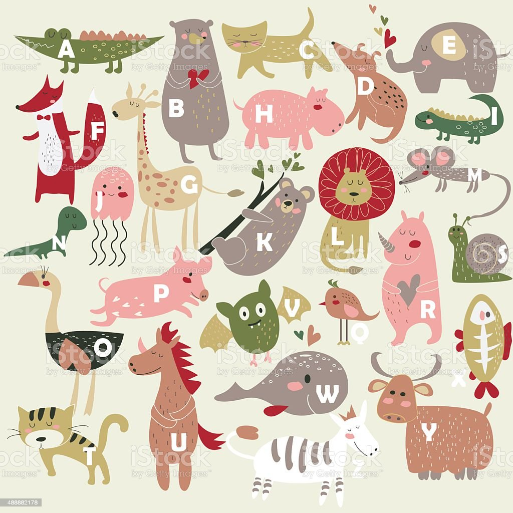 Zoo alphabet vector art illustration