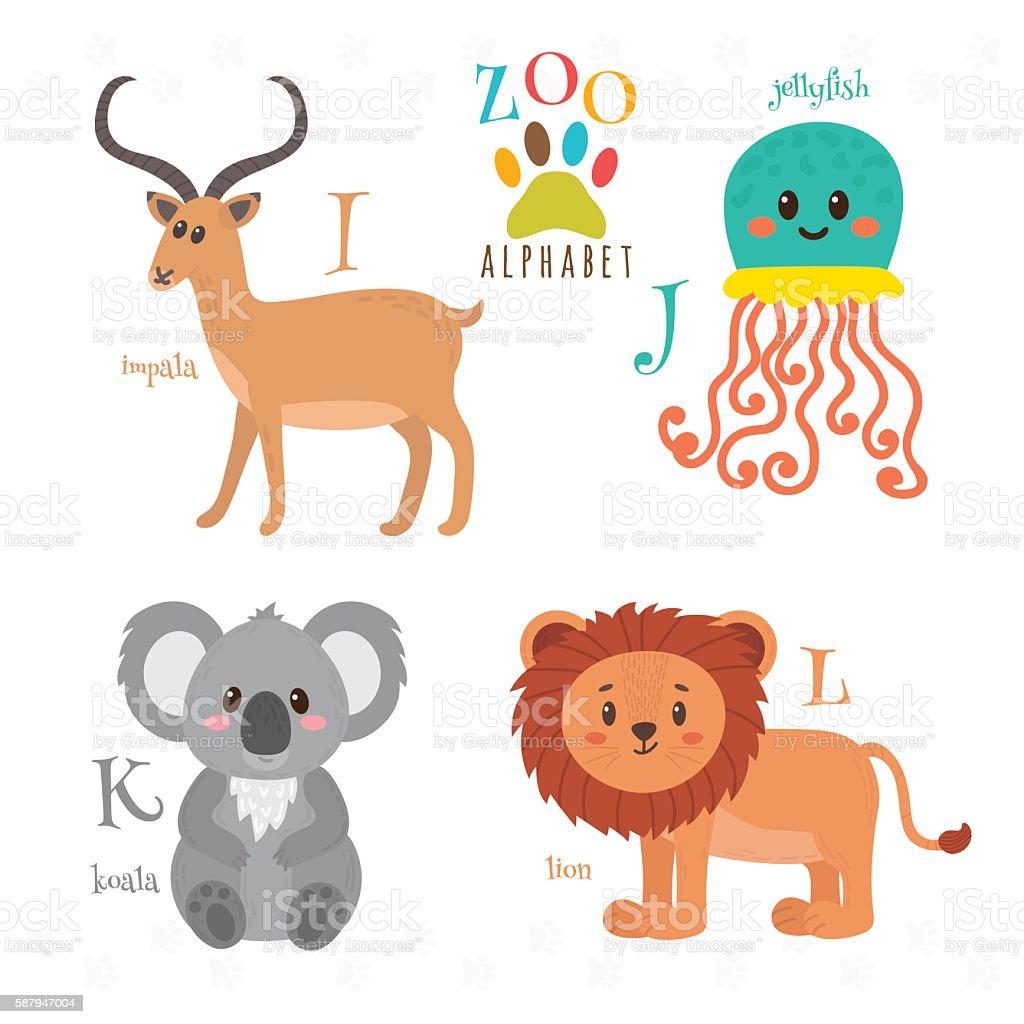 Zoo alphabet with funny cartoon animals. vector art illustration