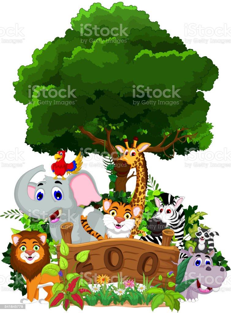 zoo and the animal cartoon vector art illustration
