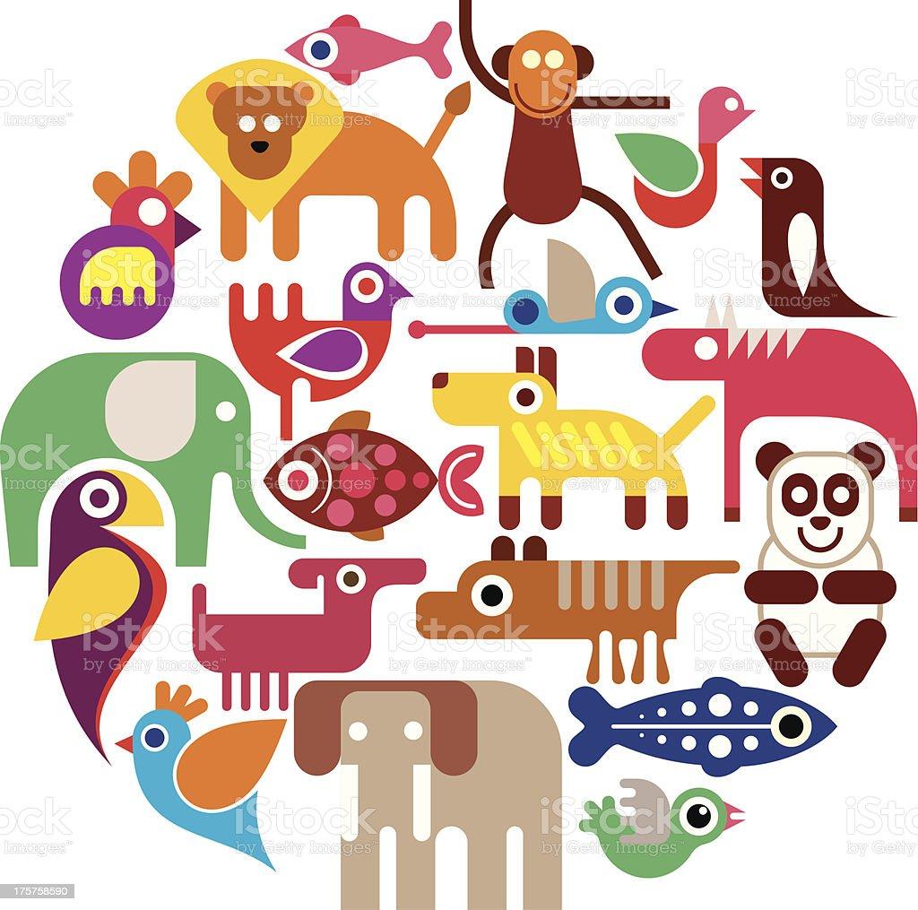 Zoo Animals - round vector illustration royalty-free stock vector art