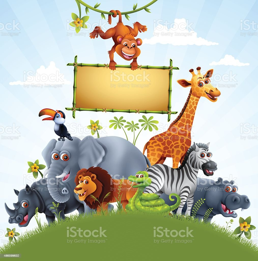 Zoo Animals with Bamboo Sign vector art illustration