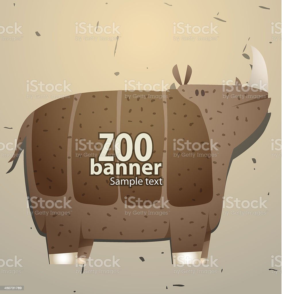 Zoo banner rhino royalty-free stock vector art