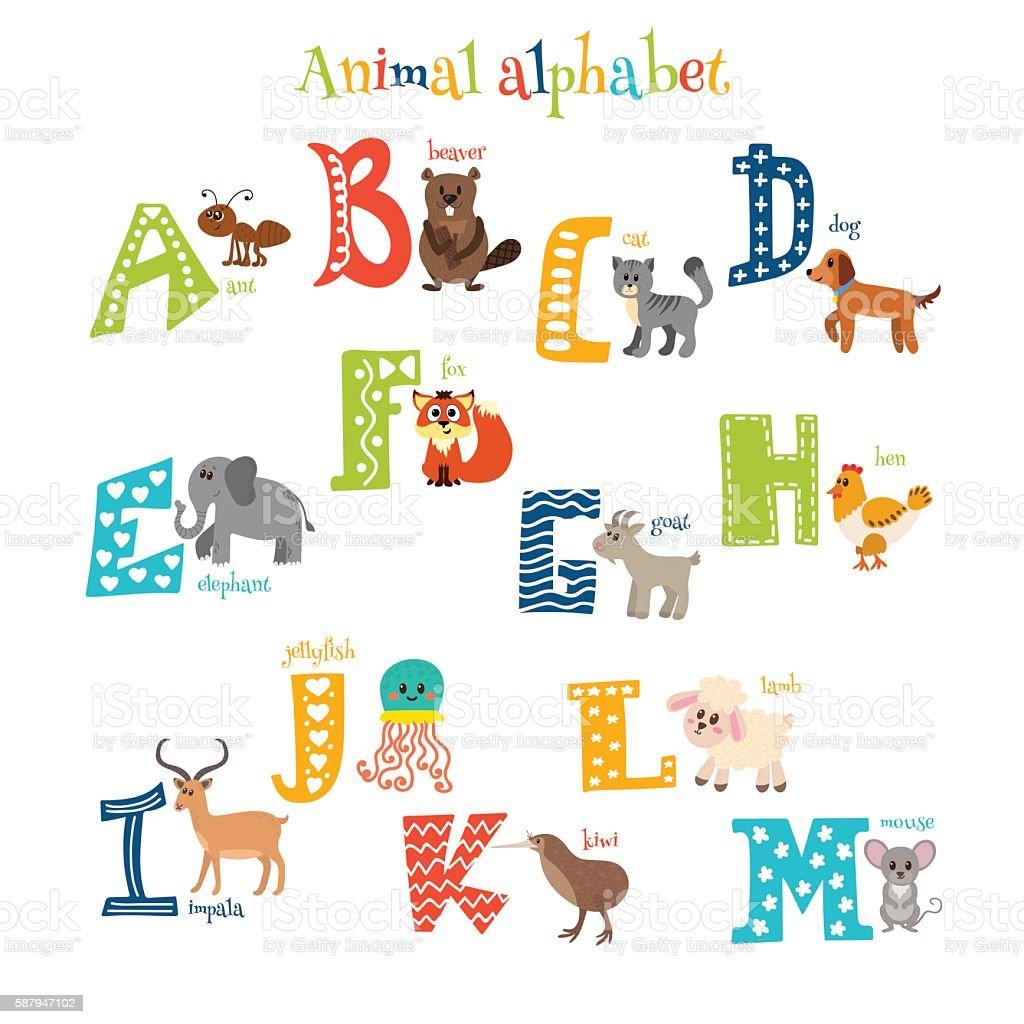 Zoo. Cute cartoon animals alphabet from A to M vector art illustration