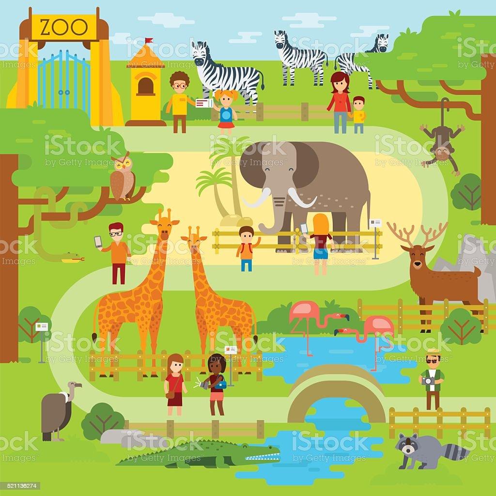 Zoo element vector art illustration