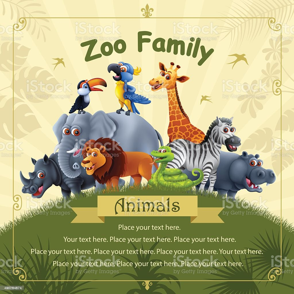 Zoo Family vector art illustration