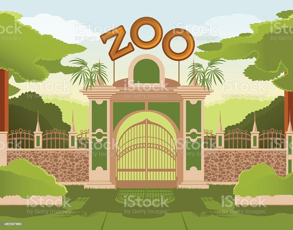 Zoo gate vector art illustration