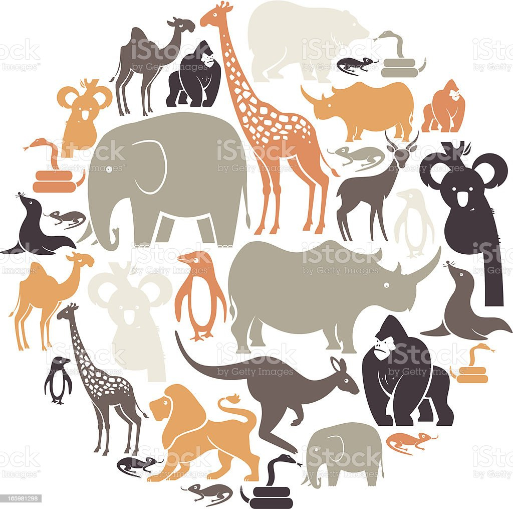 Zoo Icon Set vector art illustration