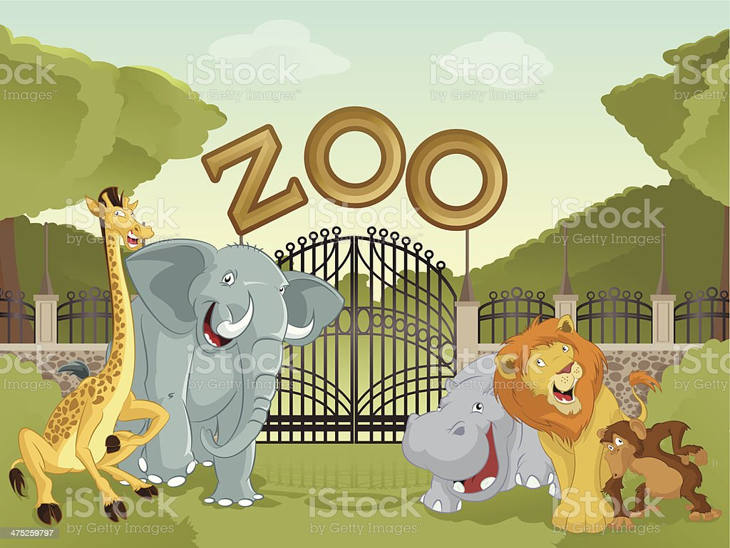 Zoo with african animals vector art illustration