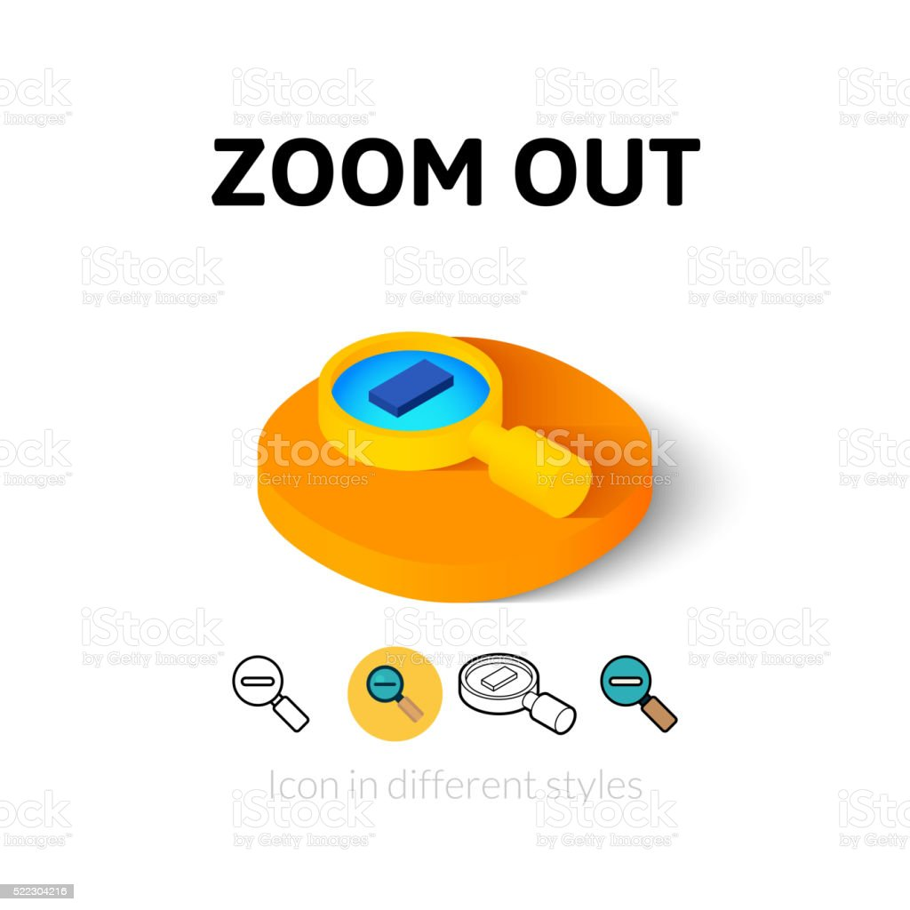 Zoom out icon in different style vector art illustration