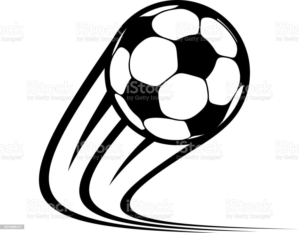 Zooming soccer ball flying through the air vector art illustration