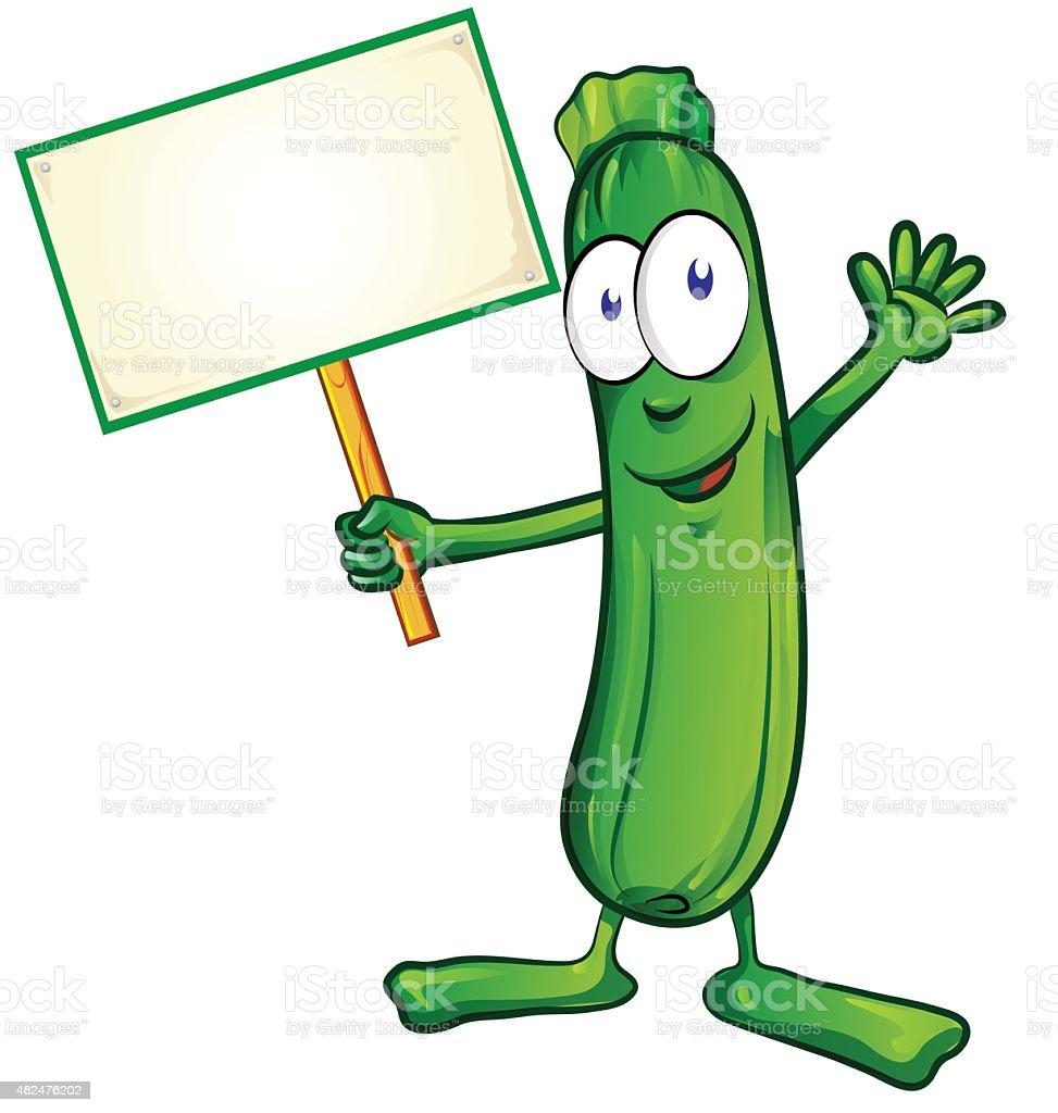 zucchini  cartoon with signboard vector art illustration