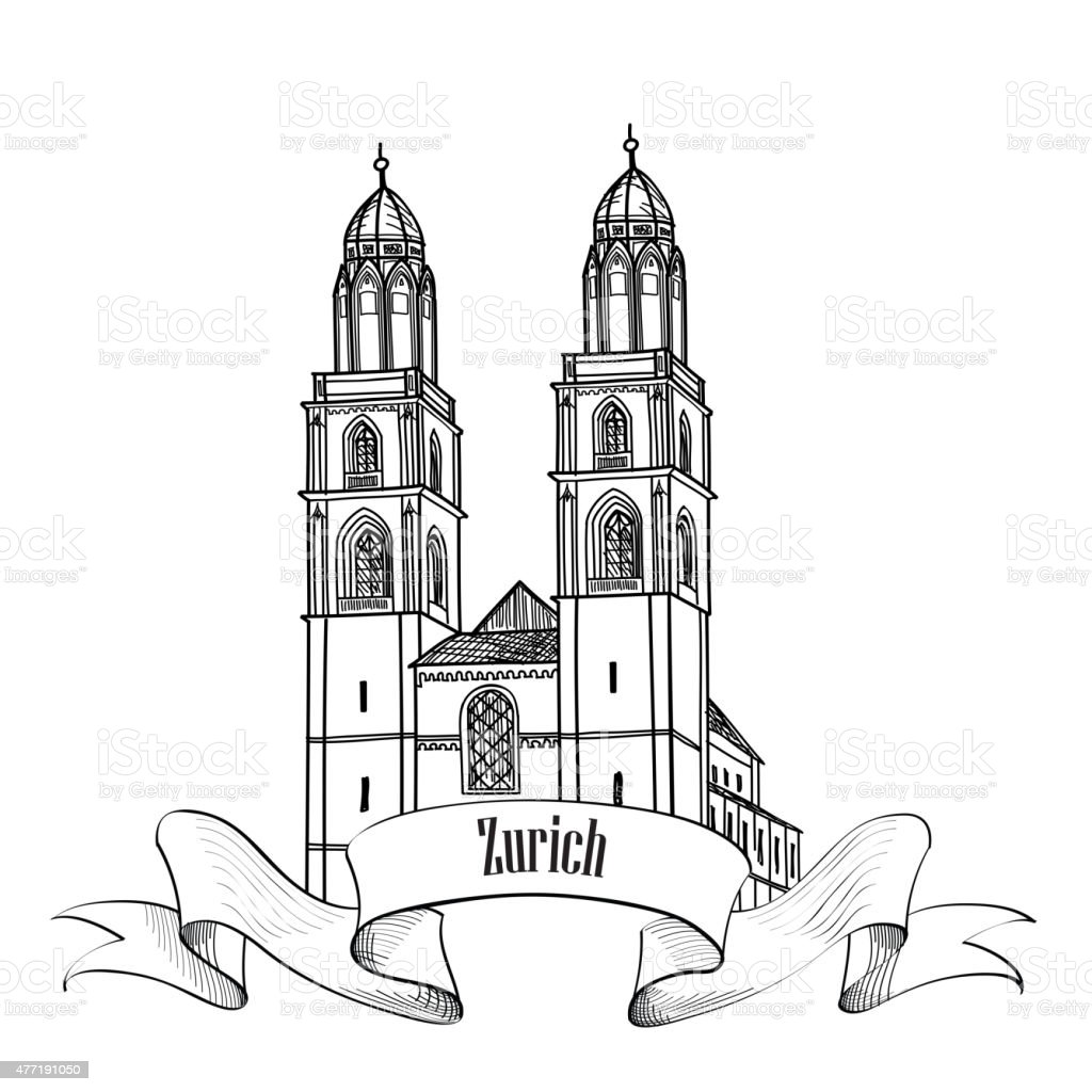Zurich. City landmark  label of the capital of Switzerland. vector art illustration