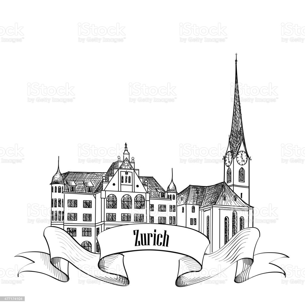 Zurich. City landmark label. Symbol of the capital of Switzerland. vector art illustration
